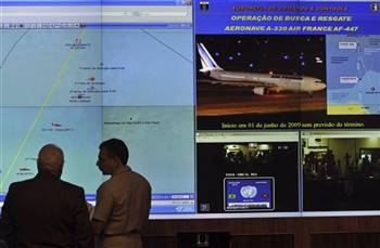 090603 Brazil's Defense Minister Nelson Jobim, left, in front of a diagram of the crash area of Air France flight 447 during a news conference in Brasilia, Wednesday, June 3, 2009